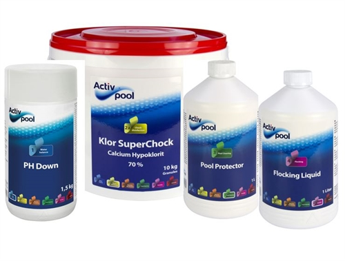 Pakketilbud: Pool startpakke 10kg klor, 1,5kg PH Minus, Pool protector og flocking liquid